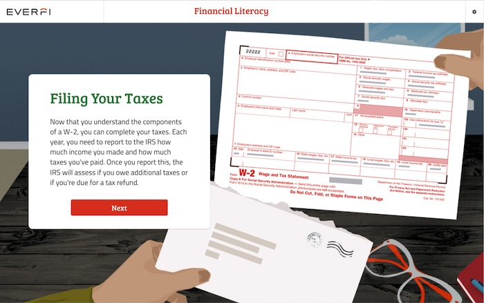 screenshot of financial literacy course filing your taxes section