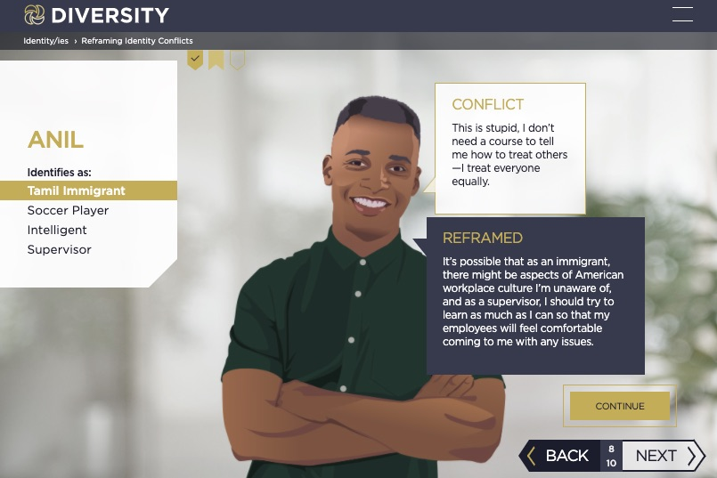 screenshot of workplace diversity training course